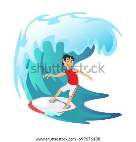 Surfing water extreme sports, isolated design element for summer vacation activity concept, cartoon wave, sea beach vector illustration, active lifestyle adventure