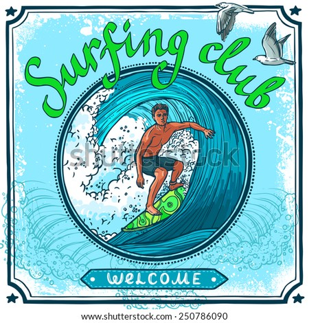 Surfing water sport club welcome advertisement poster for active vacation recreation and waves board riding vector illustration