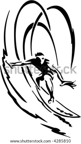 Surfing - water sport. Extreme sport. Vector illustration. Vinyl-ready.