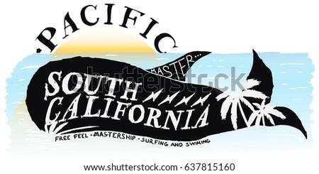surfing whale illustration