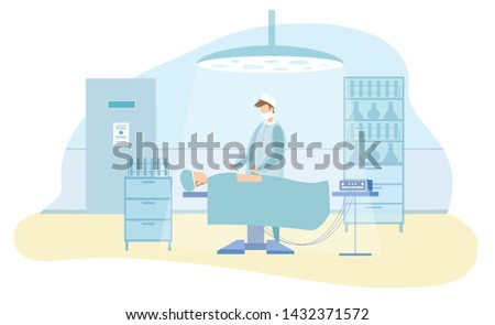 Surgeon Doctor Character Performs Laparoscopic Operation on Male Patient. Man under Anesthesia. Modern Surgery Room in Hospital Vector Illustration. Flat Cartoon Modern Preserving Techniques