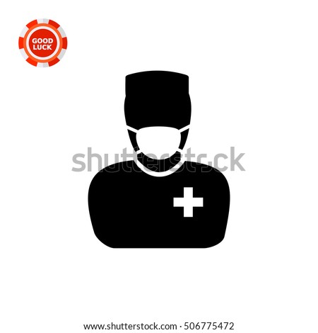 surgeon in mask and uniform icon
