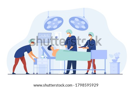 Surgeons team surrounding patient on operation table flat vector illustration. Cartoon medical workers preparing for surgery. Medicine and technology concept Сток-фото ©