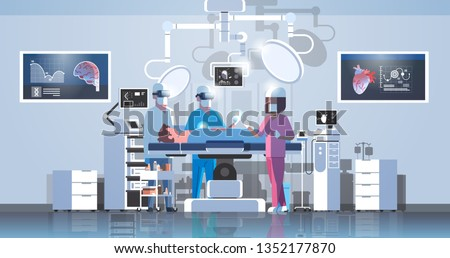 surgeons team surrounding patient on operation table medical workers wearing virtual reality glasses looking brain and heart infographic high tech operation room horizontal full length
