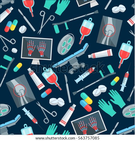Surgery seamless pattern of surgeon items. Vector medications with pill, drugs, capsules. Medicine scalpel, scissors and syringe, crutch and gloves, surgeon operation table, human knee and hands X-ray