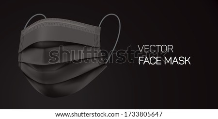 Surgical black face mask, vector illustration. Virus protection medical mask, isolated on black gradient background in a side view. Disease protective disposable mask with elastic ear loop band.