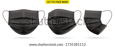 Surgical face mask vector illustration. Black medical protective masks, from different angles isolated on white. Corona virus protection mask with ear loop, in a front, three-quarters, and side views.