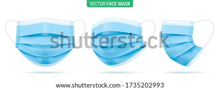 Surgical face mask, vector illustration. Blue medical protective masks, from different angles isolated on white. Corona virus protection mask with ear loop, in a front, three-quarters, and side views.