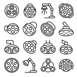 Surgical light icons set. Outline set of surgical light vector icons for web design isolated on white background