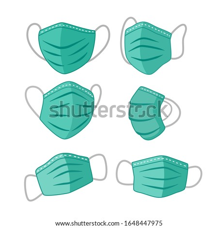 Surgical mask for disease and PM2.5 dust protection for respiration and breath. Vector set of medical face masks for air pollution and surgery operations - vector