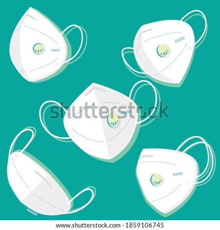 Surgical mask for disease and PM2.5 dust protection for respiration and breath. Vector set of medical face masks N-95. vector illustration  Foto stock ©