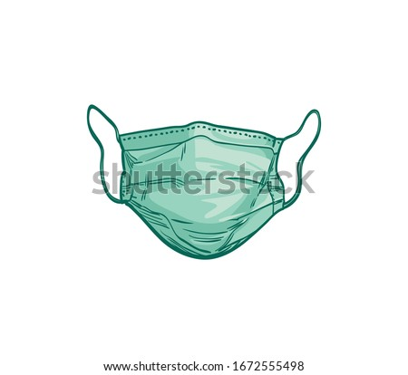 Surgical, Medical Face Mask that protects airborne diseases, viruses. For the prevention of the influenza epidemic of a deadly strain, Coronavirus. Defence from air pollution. Hand drawn vector sketch
