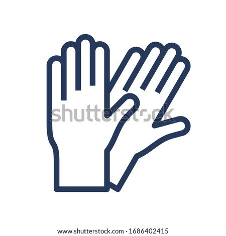 Surgical or medical latex gloves. Pair of rubber gloves line, outline icon. Protection from coronavirus, covid 19 simple sign. Vector illustration