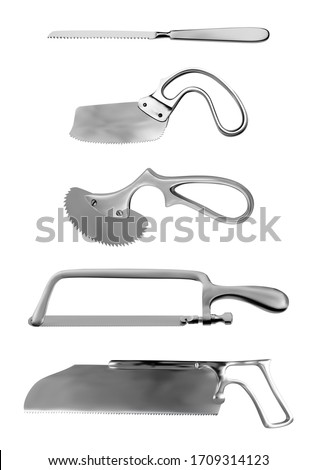 Surgical saws set. Charriere Bone Saw, Bergman and Engel plaster saws, Satterlee Bone Saw, Metacarpal saw Langenbeck. Manual surgical instrument. Isolated subjects. Vector illustration