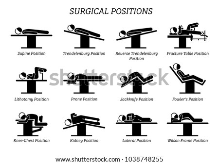 Surgical Surgery Operation Positions. Stick figures depict a set of surgery positions for the patient on the surgery chair and bed. Foto stock ©