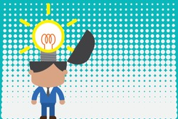 Surging innovative bright inspiration. Standing male manager suit necktie surging brilliant idea. Man stands light bulb head. Person beginning successful project