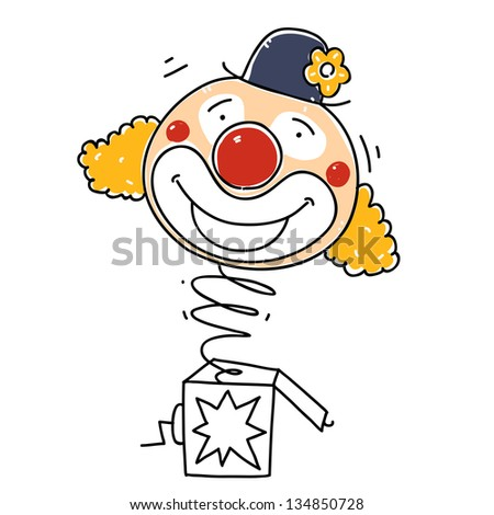 surprise box with a happy clown. cartoon illustration