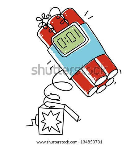 surprise box with timer bomb. cartoon illustration