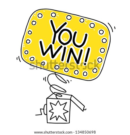 surprise box with You win sign. cartoon illustration