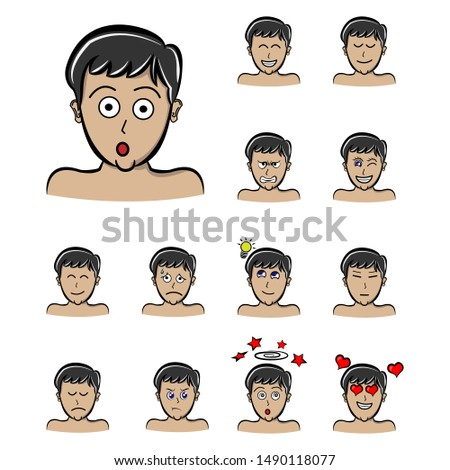 surprise face boys emotions male character set. Handsome man emoji with various facial expressions. Vector illustration in cartoon style
