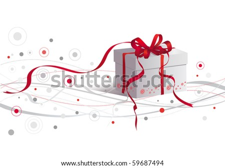 Surprise gift with red ribbon