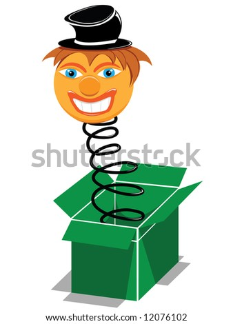 surprise present box with smiling clown