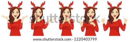 surprised christmas woman in