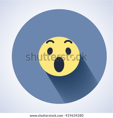 surprised face icon flat round