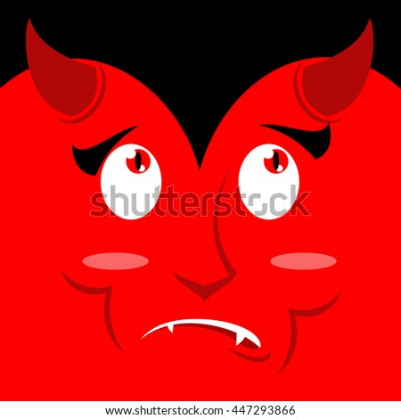 surprised face of devil on red