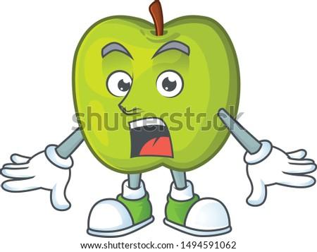 Surprised granny smith green apple cartoon mascot