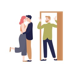 Surprised husband coming home looking to wife kissing with another man vector flat illustration. Adultery, cheating on spouse, family destruction concept. People at love triangle isolated on white