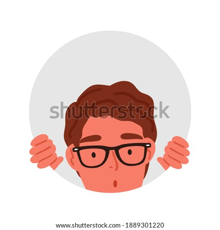 Surprised male teenager in glasses peeping through circle hole vector flat illustration. Amazed curious man watching into rounded frame isolated on white. Shocked man searching or seeking something.