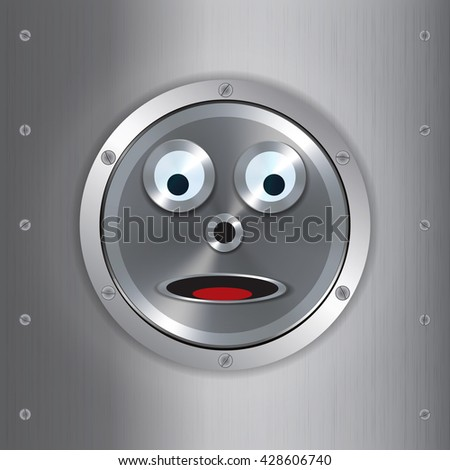 surprised metallic robot face