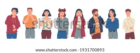 Surprised people. Excited and wondered cartoon characters with raised hands and happy faces. Young men and women feeling astonishment. Isolated amazed persons set standing in row. Vector expression