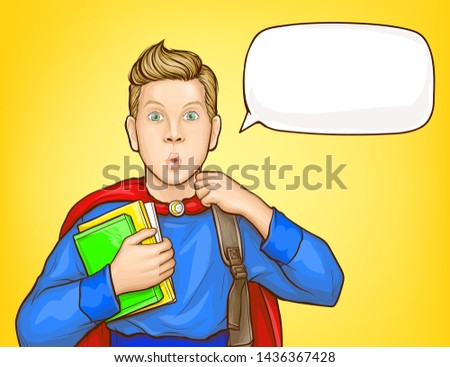 Surprised schoolboy, student in super hero suit, with backpack over shoulder, holding books, looking with amazement popart vector illustration. School supplies sale, educational course poster template