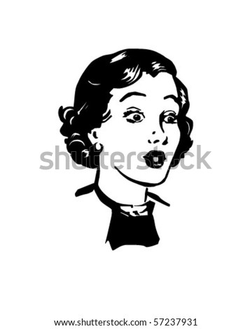 Surprised Woman - Retro Clip Art