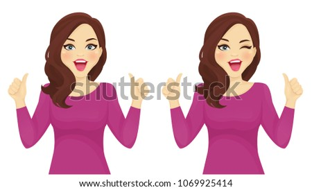 surprised woman thumbs up