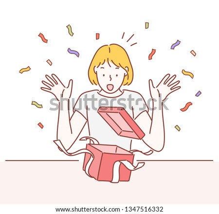 Surprised young woman with open gift box. Hand drawn style vector design illustrations.
