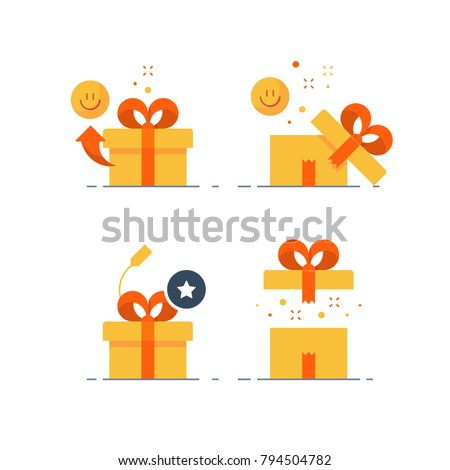 Surprising gift set, prize give away, emotional present, fun experience, unusual gift idea concept, opened yellow box with red ribbon, flat design icon vector illustration