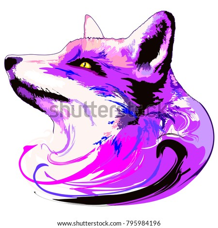 surreal and artistic purple fox