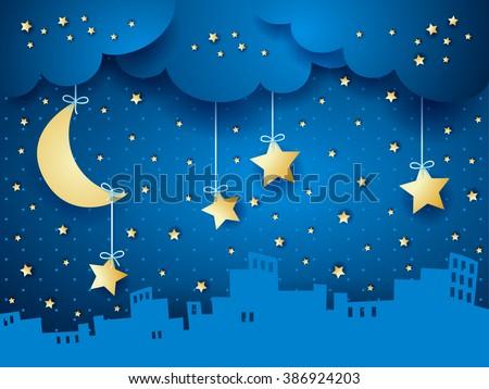 stock vector surreal background with moon and skyline vector illustration 386924203 - Каталог — Фотообои «Для детской»