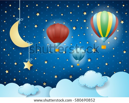 Surreal cloudscape with hanging moon and balloons. Vector illustration