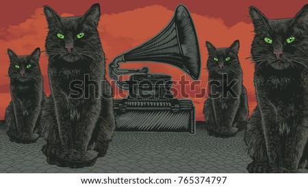 surreal design with devil cats