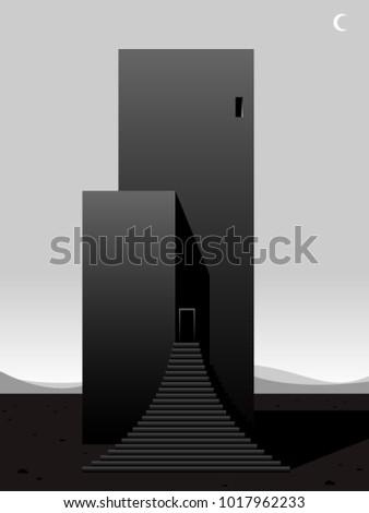 surreal futuristic building