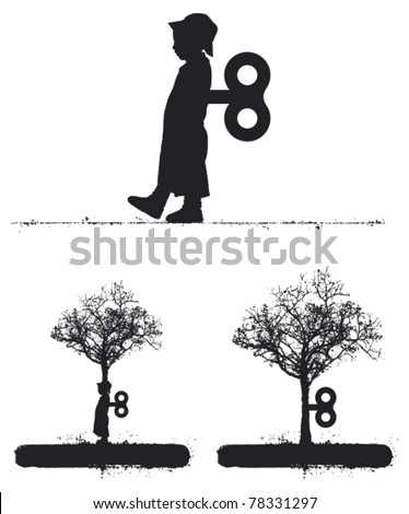 surreal idea with child and tree
