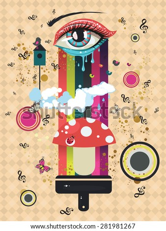 surreal illustration with eye