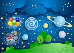 Surreal landscape with big planets and bicycle. Vector illustration