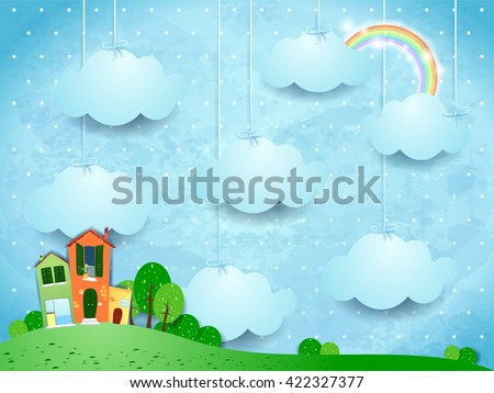 surreal landscape with hanging
