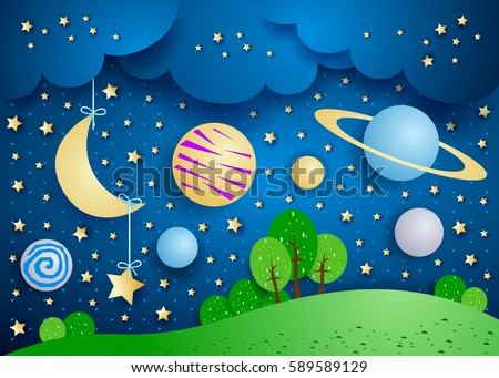 Surreal landscape with hanging moon and planets. Vector illustration