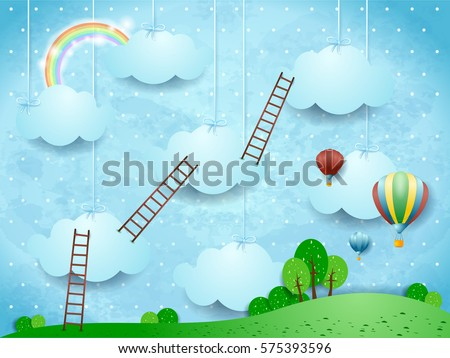 surreal landscape with ladders
